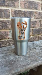 Camo Deer Head And Antlers Yeti Decal Yeti Sticker Yeti Tumbler Cup Yeti Decals Decals For Yeti Cups Yeti Cup Stickers