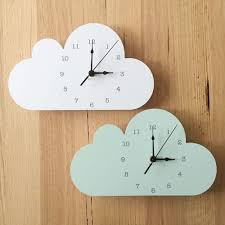 Nordic Cute Cloud Elephant Shape Wall Clock Monochrome For Children Ki