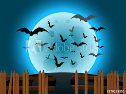 Halloween Night Landscape With Moon Bats And Old Broken Fence Buy This Stock Vector And Explore Similar Vectors At Adobe Stock Adobe Stock