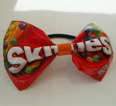 belle upcycled red skittles hair bow