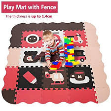 Kids Play Mat With Fence And Large Interlocking Foam Floor Tiles 1 4cm Thick Crawling Mat For Playroom Nursery For In Kids Playmat Playroom Foam Floor Tiles