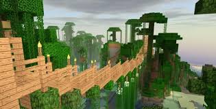 One Of My Jungle Rope Bridges Minecraft Blueprints Minecraft Architecture Minecraft Jungle House