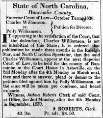 Polly Williamson filed for divorce from Charles Williamson 1830 -  Newspapers.com