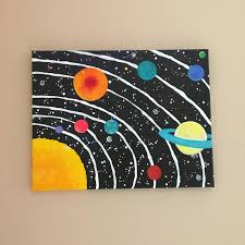 Space Art For Kids Room Solar System No 11 14x11 Inch Etsy