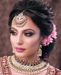 indian bridal hair style and makeup