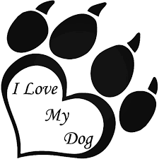 Love My Dog Paw Print Vinyl Decal Sticker