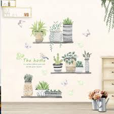Green Plant Wall Decal Bonsai Flower Butterfly Cactus Wall Stickers Diy Mural Art Decoration For Living Room Bedroom Kitchen Nursery Home Decor Potted Plant