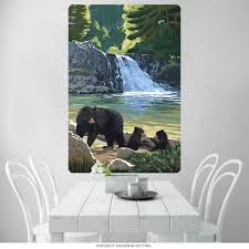 Bear And Cubs By A Waterfall Wall Decal At Retro Planet