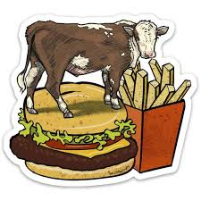 Cow And Cheeseburger Die Cut Sticker Two Little Fruits