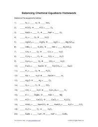 balancing equations worksheets answer