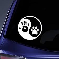 Amazon Com Bargain Max Decals Yin Yang Human Hand Dog Paw Sticker Decal Notebook Car Laptop 6 White Automotive