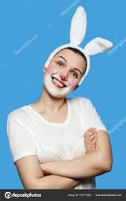 with rabbit makeup stock photo