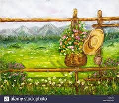 Original Oil Painting Showing Ancient Country Fence With Flowers In Stock Photo Alamy