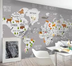 3d Nursery Kids Room Animal World Map Removable Wallpaper Peel Stick Wall Mural Wall Decal Children Toddler Baby Wall Sticker L9 Kids Room Murals Kids Room Wallpaper Kids Wall Decals