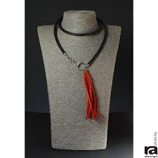 red velour leather tassel necklace