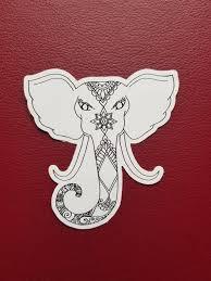 Elephant Drawing Sticker Art Freehand Drawn Car Decal Etsy