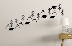 Nursery Wall Decals Woodland Bears Trees Mountains Baby Room Decoration Black Walmart Com Walmart Com
