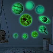 10pcs Planets Luminous Led Pvc Wall Stickers Glow In Dark Ten Planets Bedroom Wall Decal Sw Aliexpress
