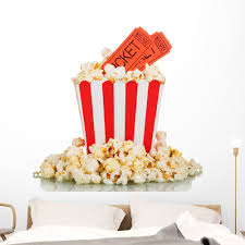 Popcorn Movie Tickets Wall Decal Wallmonkeys Peel And Stick Graphic 48 In W X 43 In H Wm502569 Walmart Com Walmart Com
