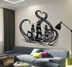 Amazon Com V Studios Vinyl Wall Decal Octopus Kraken Ship Nautical Ocean Teen Room Stickers Vs640 Home Kitchen