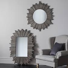 grey large round sunburst mirror 91cm