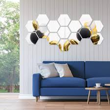 12pcs 3d Mirror Hexagon Vinyl Removable Wall Sticker Decal Home Decor Spruced Roost