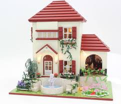 Gesang hoa biệt thự tự làm búp bê nhà thu nhỏ 3D Cupid sculpture+light+wood  thủ công bộ dụng cụ xây dựng mô hình nhà và cửa hàng trang trí diy doll  house