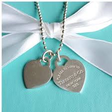 double heart tag pendant necklace