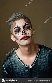preparation young guy clown makeup
