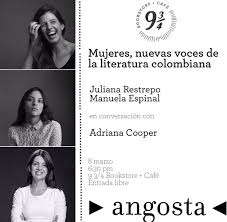 "Adriana Cooper 🌟 בטוויטר: ""Amigos: acompáñenme a conversar este 8 de marzo  en la librería 9 3/4 Km 17 Via Palmas con @MEspinalSolano y @monitanerd de  @AngostaEditores… https://t.co/z7vwvRIBOY"""