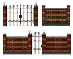 Premium Vector Fencing Entrance With A Brick Fence Wrought Iron Gates And A Gate For The Yard And Cottage Private Houses