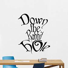 Amazon Com Down The Rabbit Hole Wall Decal Alice In Wonderland Vinyl Sticker Disney Cartoon Wall Art Design Housewares Kids Boy Girl Room Bedroom Decor Removable Wall Mural 47ps Home Kitchen