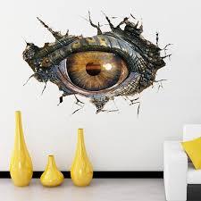 17 Off 2020 Novelty Home Decoration 3d Lifelike Dinosaur Eyes Wall Art Sticker In Black Grey Dresslily