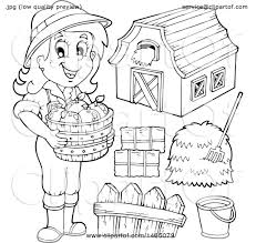 Clipart Of A Black And White Female Farmer With A Barn Hay Bushel Of Apples Bucket And Fence Royalty Free Vector Illustration By Visekart 1465079