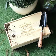 engraved wooden garden box kit