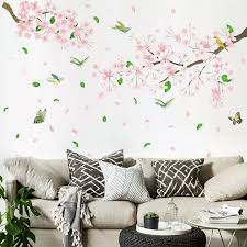 Delicate Cherry Blossom Wall Sticker Elegant Decals Mural Decor White Blossom Tree Branch Wall Art Stickers D Wall Stickers Aliexpress