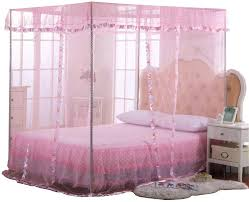 Amazon Com Jqwupup Mosquito Net For Bed 4 Corner Canopy For Beds Canopy Bed Curtains Bed Canopy For Girls Kids Toddlers Crib Bedroom Decor Twin Size Pink Home Kitchen