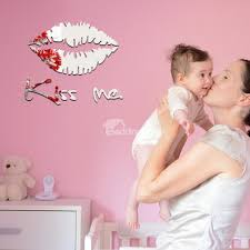 12 11in Silver Golden Lips Kiss Me Mirror Waterproof And Eco Friendly 3d Wall Stickers Beddinginn Com