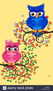 Cute Dibujos Animados Coloridos Buhos Sentado Sobre La Rama De Un