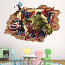 Marvel Heroes 3d Wall Decal Hulk Ironman Spiderman Thor Etsy