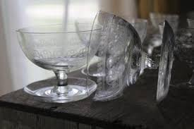 art deco glass sherbets with attached