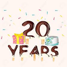 Feliz Cumpleanos Veinte 20 Anos Tarjeta Con Numero Ilustraciones