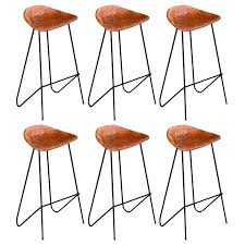 bar chairs 6 pcs brown real leather