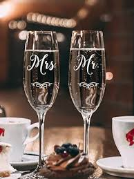 Amazon Com Set Of 2 Vinyl Art Decals Custom Mr Mrs Last Names 3 X 2 5 Each Elegant Personalized Couples Bride Groom Wedding Love Marriage Wine Champagne Glass Sticker Decor Wine Glasses
