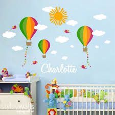 Nursery Wall Decal Hot Air Balloons Wall Decal Custom Name Decal Kids Styleywalls On Artfire
