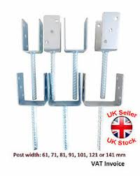 Heavy Duty Galvanised U Shape With Pin Post Fence Foot Anchors Concreting Ebay