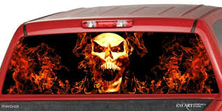 Burning Skull In Fire Flames Rear Window Graphic Decal Tint Etsy