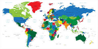 kids colorful political world map