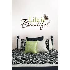 Wall Pops 3 5 In X 2 In Life Is Beautiful Quote Wall Decal Wpq96853 The Home Depot