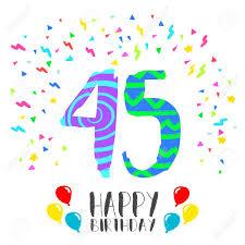 Numero 45 Del Feliz Cumpleanos Tarjeta De Felicitacion Durante
